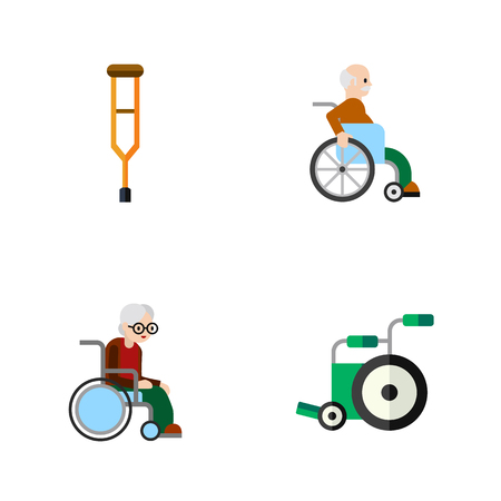 Flat Icon Handicapped Set Of Wheelchair, Stand, Handicapped Man Vector Objects. Also Includes Equipment, Stick, Crutch Elements.