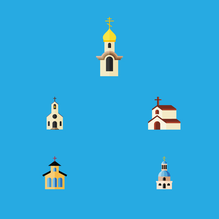 Flat Icon Building Set Of Structure, Church, Catholic And Other Vector Objects. Also Includes Religion, Catholic, Faith Elements.