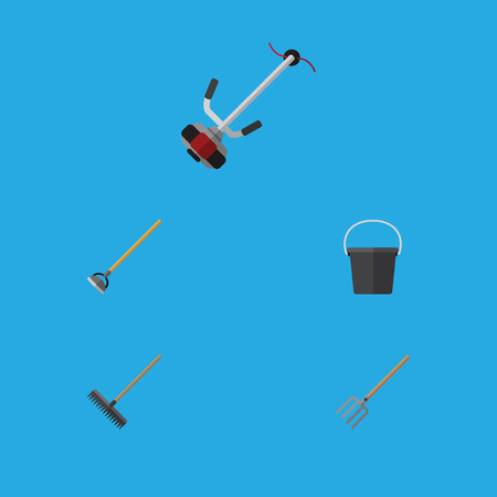 Flat Icon Garden Set Of Pail, Harrow, Hay Fork And Other Vector Objects. Also Includes Tool, Cutter, Pail Elements. Illustration