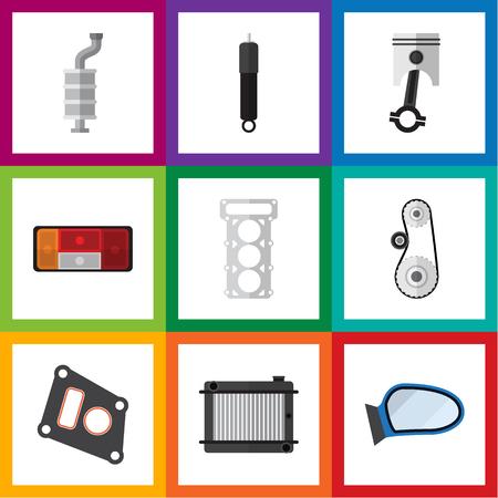 Flat Icon Auto Set Auto Component, Verpakking, Cambelt En Andere Vector Objecten. Bevat ook verpakkingen, vleugels, motorelementen.