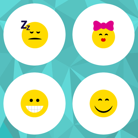 Flat Icon Gesture Set Of Grin, Caress, Asleep And Other Vector Objects. Also Includes Sleeping, Laugh, Asleep Elements.
