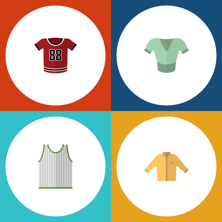 Flat Icon Dress Set Of Singlet, Casual, T-Shirt And Other Vector Objects. Also Includes Singlet, Blouse, Tank Elements.