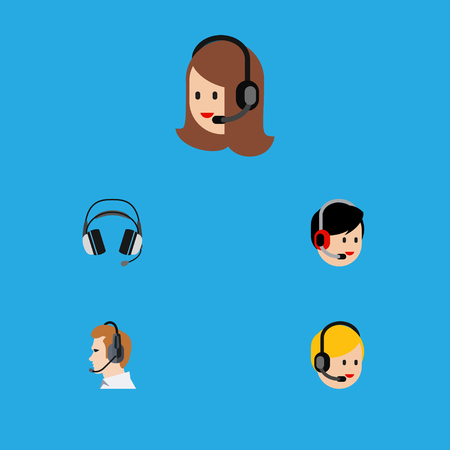 hotline: Flat Icon Telemarketing Set Of Telemarketing, Earphone, Service And Other Vector Objects. Also Includes Telemarketing, Earphone, Call Elements.