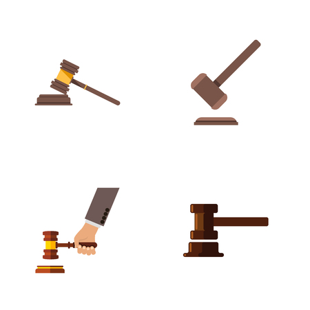 Flat Icon Hammer Set Of Crime, Government Building, Court And Other Vector Objects. Also Includes Tribunal, Crime, Law Elements.