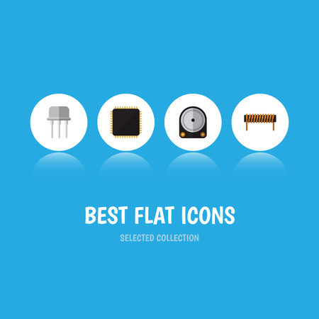 Flat Icon Electronics Set Of Resist, Bobbin, Cpu And Other Vector Objects. Also Includes Hard, Motherboard, Resist Elements.