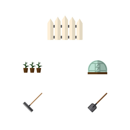 Flat Icon Dacha Set Of Harrow, Hothouse, Wooden Barrier And Other Vector Objects. Also Includes Shovel, Botany, Tool Elements.