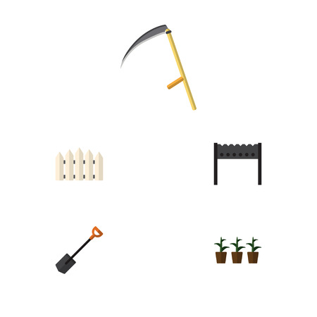 Flat Icon Dacha Set Of Flowerpot, Cutter, Barbecue And Other Vector Objects. Also Includes Scythe, Shovel, Brazier Elements. Illustration