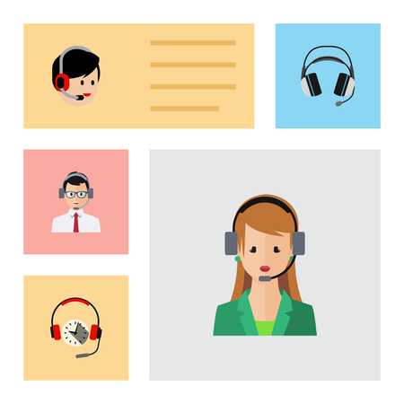hotline: Flat Icon Call Set Of Earphone, Help, Operator And Other Vector Objects. Also Includes Help, Human, Headphone Elements.
