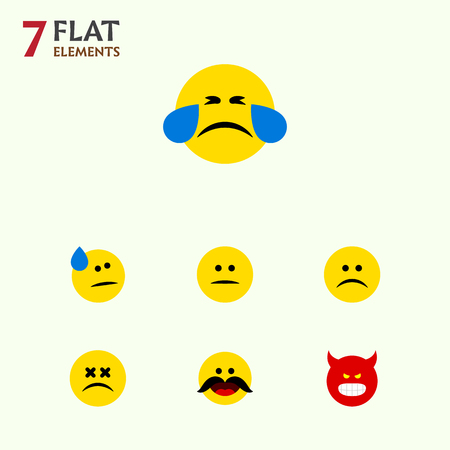 Flat Icon Gesture Set Of Tears, Cross-Eyed Face, Sad And Other Vector Objects. Also Includes Sad, Displeased, Emoticon Elements.