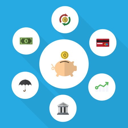 Flat Icon Gain Set Of Greenback, Money Box, Interchange And Other Vector Objects. Also Includes Credit, Bank, Greenback Elements.