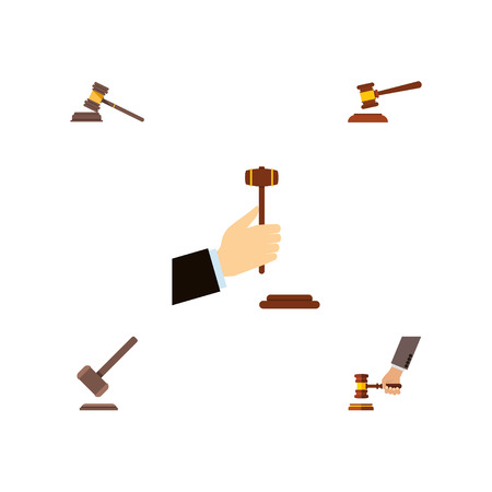 Flat Icon Hammer Set Of Hammer, Crime, Tribunal And Other Vector Objects. Also Includes Court, Legal, Justice Elements.
