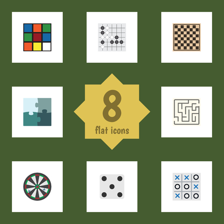Flat Icon Play Set Of Gomoku, Cube, Chess Table And Other Vector Objects. Also Includes Puzzle, Rubik, Game Elements.