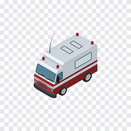 Isolated Ambulance Isometric. First-Aid    Vector Element Can Be Used For Ambulance, Aid, Car Design Concept. Illustration