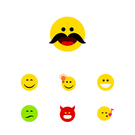 quandary: Flat Icon Expression Set Of Descant, Have An Good Opinion, Cheerful And Other Vector Objects. Also Includes Emoji, Sing, Frown Elements.