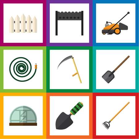 Flat Icon Garden Set Of Hothouse, Trowel, Hosepipe And Other Vector Objects. Also Includes Mower, Spatula, Bbq Elements.