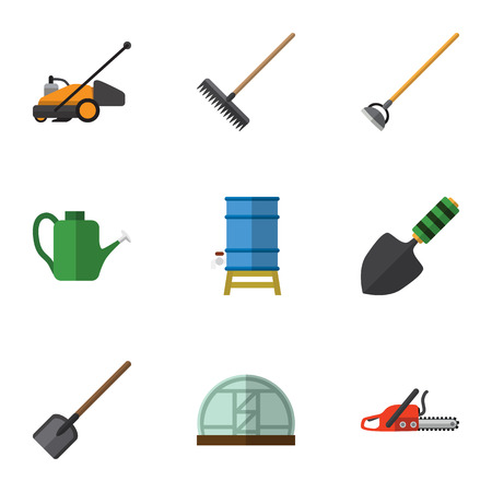 Flat Icon Garden Set Of Trowel, Lawn Mower, Harrow And Other Vector Objects. Also Includes Lawn, Can Bailer, Tank Elements.
