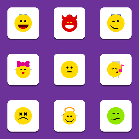 Flat Icon Expression Set Of Cross-Eyed Face, Descant, Winking And Other Vector Objects. Also Includes Sad, Laugh, Grin Elements. Illustration