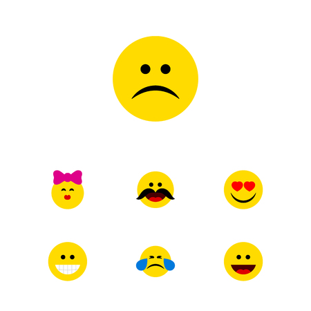 Flat Icon Gesture Set Of Sad, Laugh, Caress And Other Vector Objects. Also Includes Emoji, Sad, Kiss Elements. Illustration