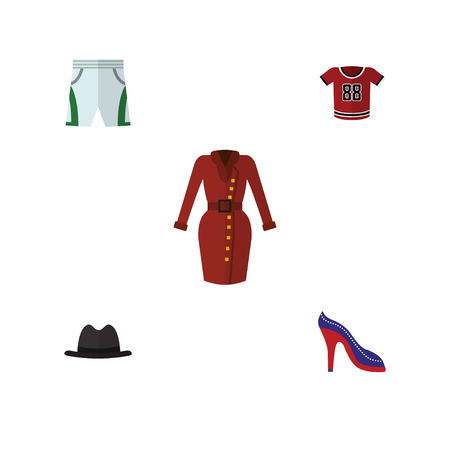 Flat Icon Clothes Set Of T-Shirt, Panama, Clothes And Other Vector Objects. Also Includes Cloth, Trunks, Clothes Elements. Illustration