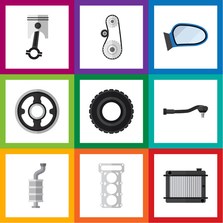 パッキング、ホイール、自動車部品および他のベクトル オブジェクトのフラット アイコンを自動設定。球状、含まれていますピストン、ガスケット  イラスト・ベクター素材