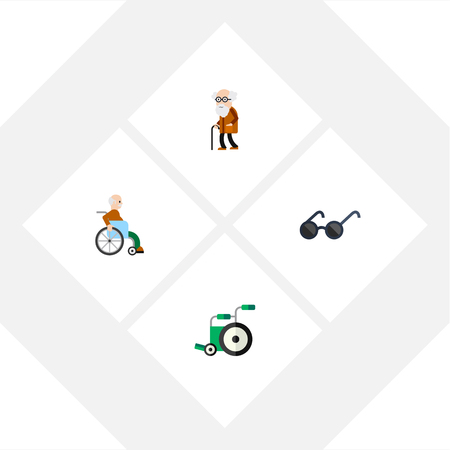 Flat Icon Disabled Set Of Ancestor, Spectacles, Handicapped Man Vector Objects. Also Includes Handicapped, Disabled, Ancestor Elements. Çizim