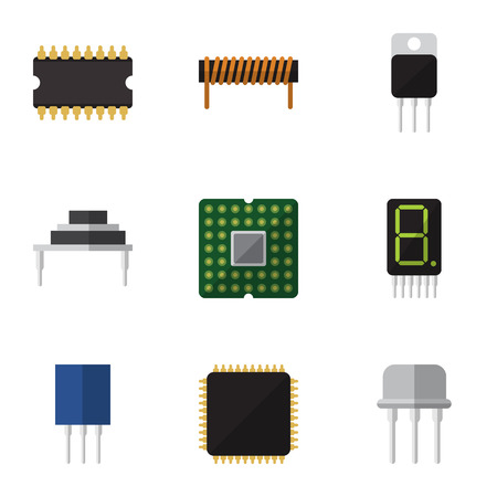 Flat Icon Device Set Of Display, Resist, Destination And Other Vector Objects. Also Includes Central, Recipient, Coil Elements.