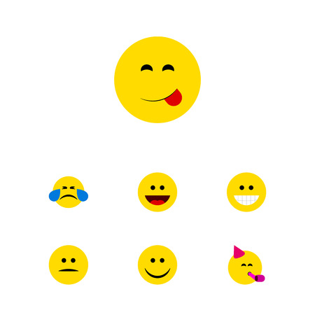 Flat Icon Expression Set Of Joy, Laugh, Party Time Emoticon And Other Vector Objects. Also Includes Sad, Grin, Joy Elements.