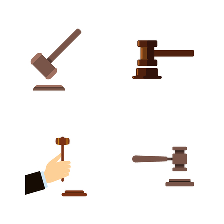 Flat Icon Hammer Set Of Law, Government Building, Legal And Other Vector Objects. Also Includes Tribunal, Justice, Legal Elements.