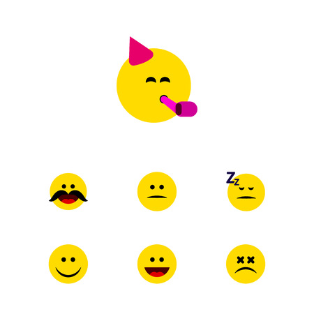 Flat Icon Emoji Set Of Party Time Emoticon, Asleep, Laugh And Other Vector Objects. Also Includes Joy, Laugh, Displeased Elements. Illustration