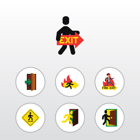 Flat Icon Door Set Of Open Door, Emergency, Evacuation And Other Vector Objects. Also Includes Evacuation, Board, Fire Elements. Illustration
