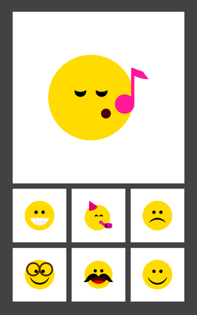 misunderstanding: Flat Icon Expression Set Of Sad, Grin, Party Time Emoticon And Other Vector Objects. Also Includes Eyeglasses, Cheerful, Laugh Elements.