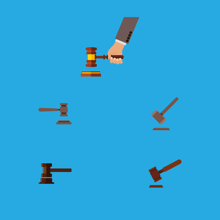 Flat Icon Hammer Set Of Legal, Justice, Crime And Other Vector Objects. Also Includes Tribunal, Crime, Legal Elements.
