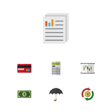 electronic commerce: Flat Icon Incoming Set Of Greenback, Document, Calculate And Other Vector Objects. Also Includes Swap, Diagram, Card Elements.