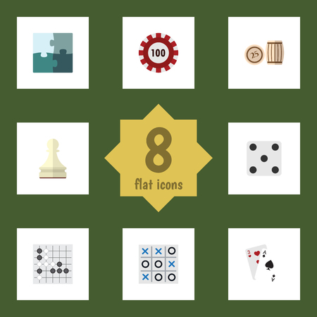 cross match: Flat Icon Play Set Of Poker, Jigsaw, Backgammon And Other Vector Objects. Also Includes Dice, Alphago, Lotto Elements.