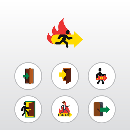 Flat Icon Emergency Set Of Entrance, Entry, Directional vector elements.