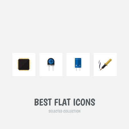 Flat Icon Appliance Set Of Transducer, Cpu, Repair And Other Vector Objects. Also Includes Transducer, Transistor, Electronics Elements.