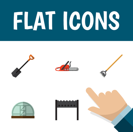 Flat Icon Farm Set Of Tool, Barbecue, Hothouse And Other Vector Objects. Also Includes Bbq, Shovel, Hothouse Elements. Illustration