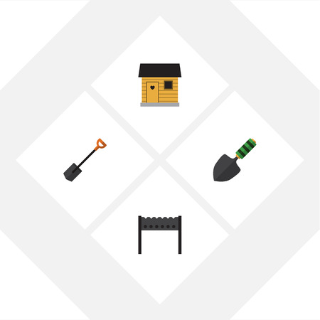 Flat Icon Farm Set Of Stabling, Spade, Barbecue And Other Vector Objects. Also Includes Brazier, Shovel, Trowel Elements.