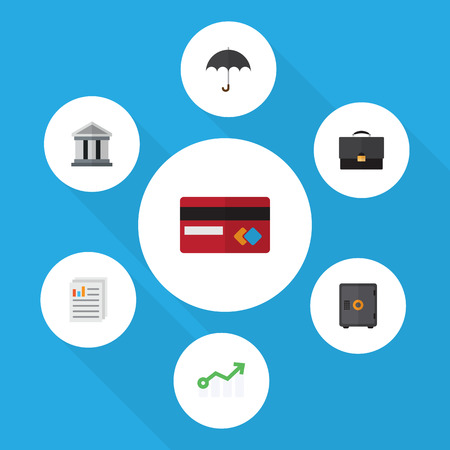 Flat Icon Finance Set Of Strongbox, Document, Growth And Other Vector Objects. Also Includes Bank, Mastercard, Umbrella Elements.