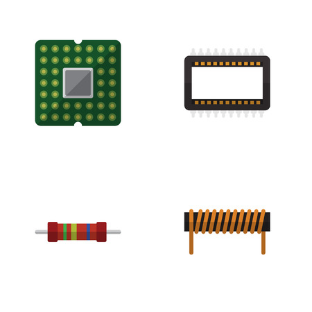 Flat Icon Technology Set Of Bobbin, Resistance, Unit And Other Vector Objects. Also Includes Copper, Coil, Unit Elements.