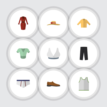 Flat Icon Garment Set Of Banyan, Pants, Singlet And Other Vector Objects. Çizim