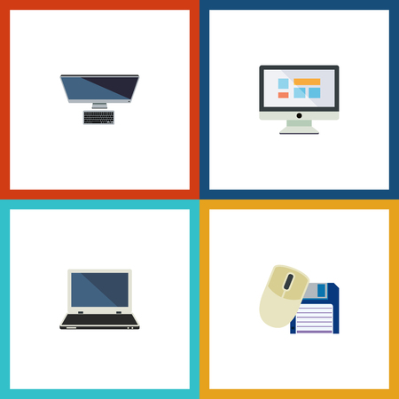 computerized: Flat Icon Laptop Set Of PC, Computer Mouse, Display And Other Vector Objects. Illustration
