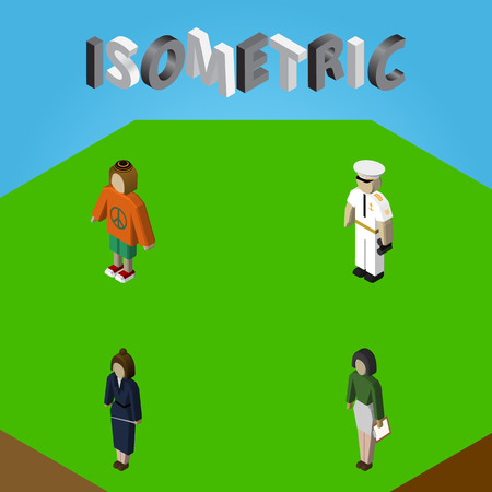 Isometric Person Set Of Businesswoman, Seaman, Lady And Other Vector Objects.