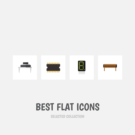 Flat Icon Technology Set Of Microprocessor, Bobbin, Display And Other Vector Objects. Illustration