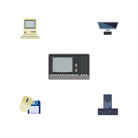 computerized: Flat Icon Laptop Set Of Vintage Hardware, Computing, Computer Mouse And Other Vector Objects.