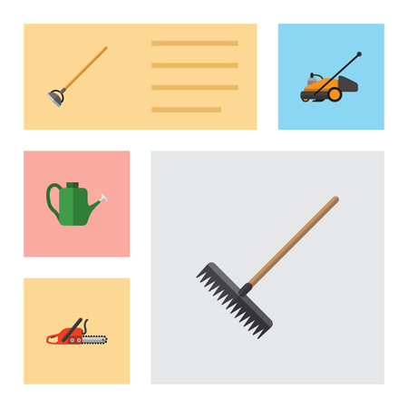 Flat Icon Garden Set Of Harrow, Hacksaw, Bailer And Other Vector Objects. Çizim