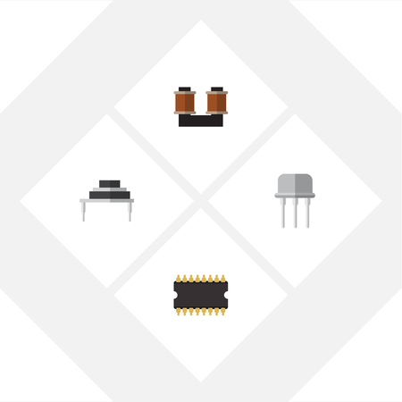 Flat Icon Electronics Set Of Coil Copper, Destination, Resist And Other Vector Objects. Illustration