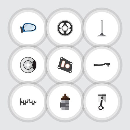 conrod: Flat Icon Component Set Of Auto Component, Gasket, Belt And Other Vector Objects.