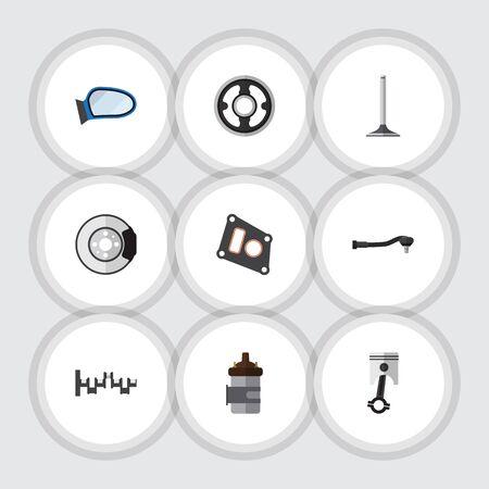 Flat Icon Component Set van auto-onderdeel, pakking, riem en andere vectorobjecten.