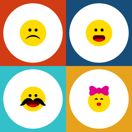 Flat Icon Gesture Set Of Caress, Cheerful, Sad And Other Vector Objects.